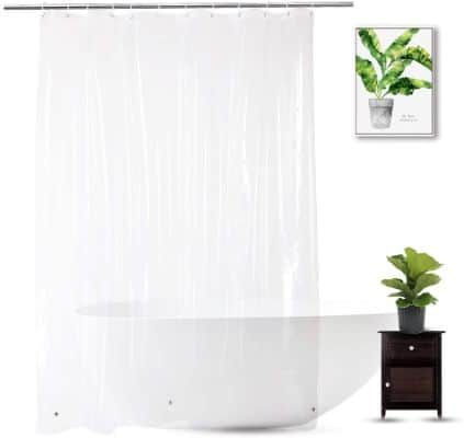 WellColor Clear Shower Curtain Liner 72 x 75 inch, PEVA Heavy Duty Shower Liner with 3 Weighted Magnets