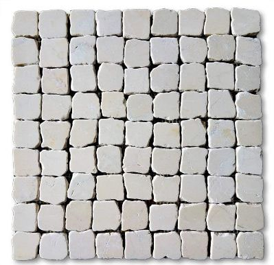 12x12 Marble Stone Tumbled (Botticino) Pebble Mosaic Wall & Floor Tile
