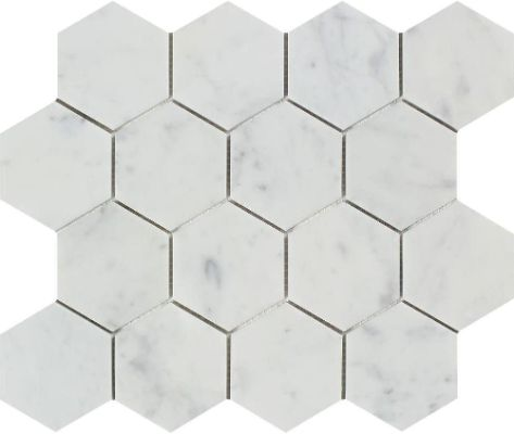 Carrera Carrara Marble Tile Hexagon 3 Inch Hex Bathroom Shower Floor Kitchen Backsplash Wall