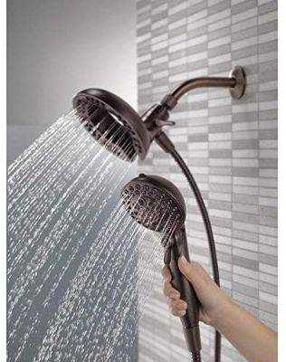 Delta 75588RB In2ition 2.5 GPM Dual Hand Held Rain Shower Heads 2-In-1 Combo With Holder
