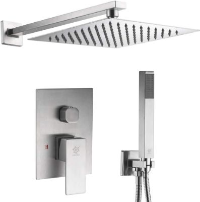 Brushed Nickel Shower System, 12 Inch Rain Shower Head and Handheld Wall Mounted Completed Rainfall