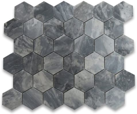 Stone Center Online Bardiglio Gray Dark Grey Marble 2 Hexagon Mosaic Tile Polished Kitchen