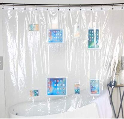 Vinyl Curtains, Clear EVA Shower Pocket Curtain Liner for Bathroom, Holder for Baby Monitor