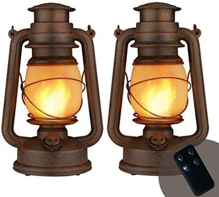 LED Vintage Lantern,Realistic Flicker Flame