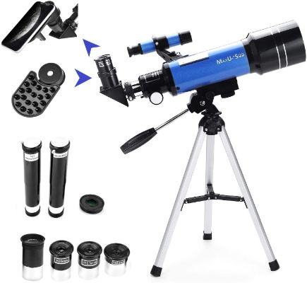 MaxUSee 70mm Refractor Telescope with Tripod & Finder Scope, Portable Telescope for Kids