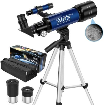 Emarth Telescope, Travel Scope, 70mm Astronomical Refractor Telescope with Tripod & Finder Scope, Portable
