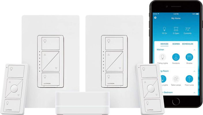 Lutron Caseta Smart Start Kit, Dimmer Switch (2 Count) with Smart Bridge and Pico remotes, Works with Alexa