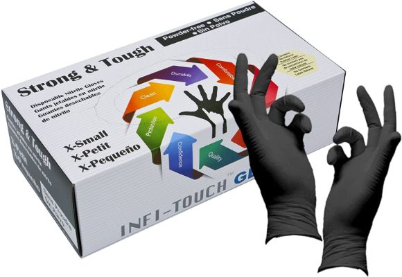 Heavy Duty Nitrile Gloves, Infi-Touch Strong & Tough, High Chemical Resistant, Disposable Gloves
