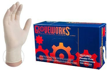 Ammex GLOVEWORKS Industrial White Latex Gloves