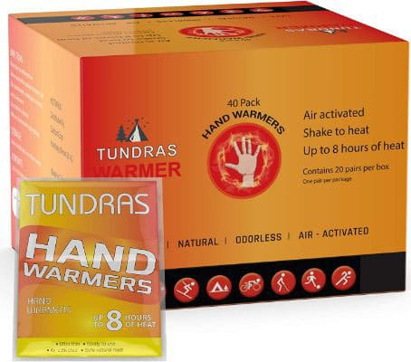 Tundras Hot Hand Warmers Natural Odorless - 40 Count - Long Lasting Safe Single-Use Air Activated Heat Packs