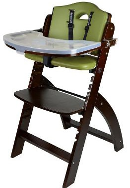 Abiie beyond Mahogany Wooden High Chair Adjustable Baby Highchair with Tray