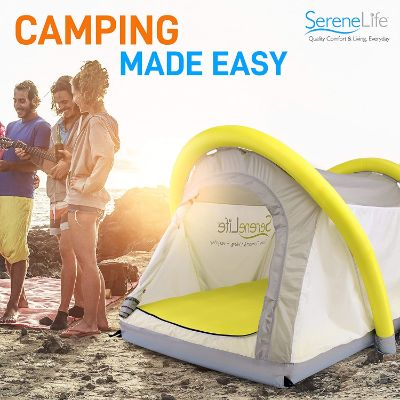 SereneLife Outdoor 2-in-1 Inflatable Camping Tent | Blow Up Tent for Camping, Hiking, Windproof, Waterproof