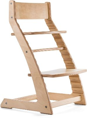 Fornel Heartwood Wooden High Chair Natural Birch Adjustable Highchair for Babies and Toddlers