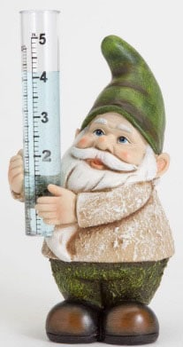 Rain Gauge For Garden With Gnome Sculpture Design