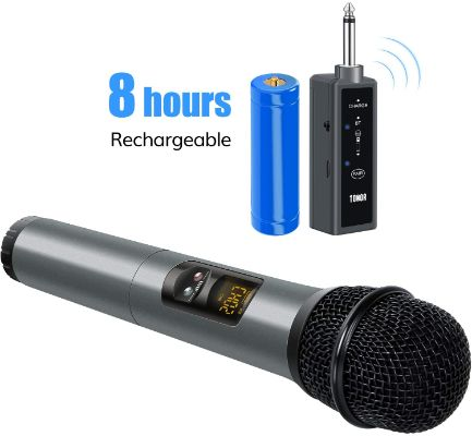 TONOR UHF Wireless Bluetooth Microphone with Bluetooth Receiver, Handheld Mic, 1:4 Output, 65ft
