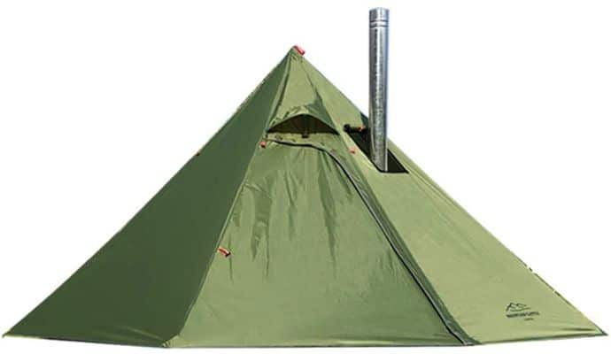 Preself 3 Person Tipi Hot Tent Lightweight with Window Fire Retardant Flue Pipes Teepee Tent