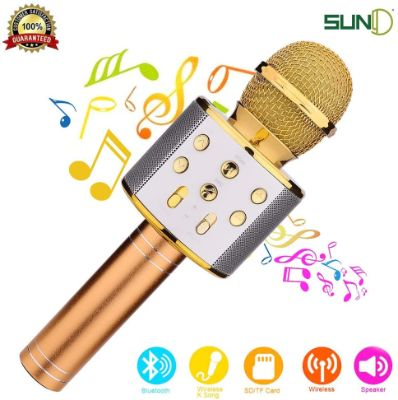 SUNY Bluetooth Wireless Karaoke Microphone, Handheld Portable Speaker Music Player for Android & iOS Devices (Gold)
