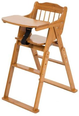 ELENKER High Chair Natural Bamboo for Baby Toddler, 3 Gears Adjustable Height, Foldable