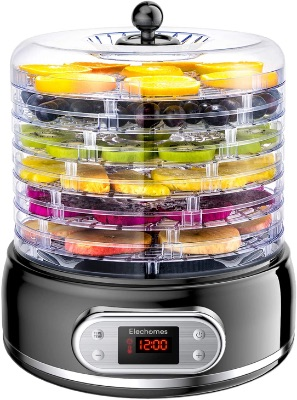 Elechomes 6-Tray, Digital Time Food Dehydrator, for Herbs, Beef Jerky, Fruit, Meat, Dog Treats, Vegetable